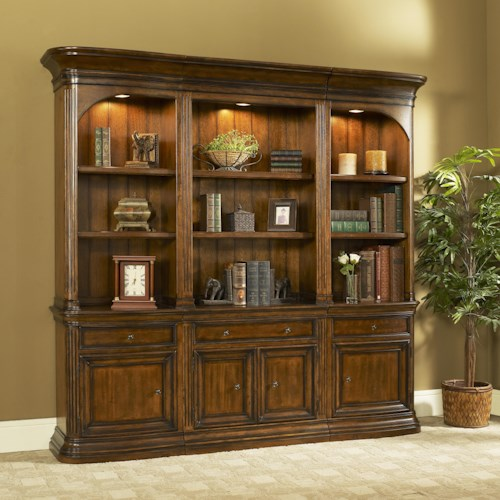 Strongson Furniture Winsome Home Office Traditional Combination Bookcase With Left Right Curved Piers
