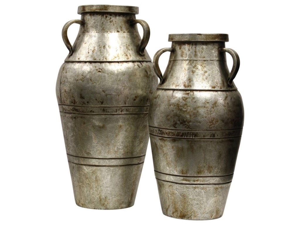 StyleCraft AccessoriesSet of Two Industrial Metal Vase