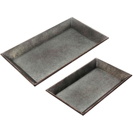 Set of 2 Metal Trays