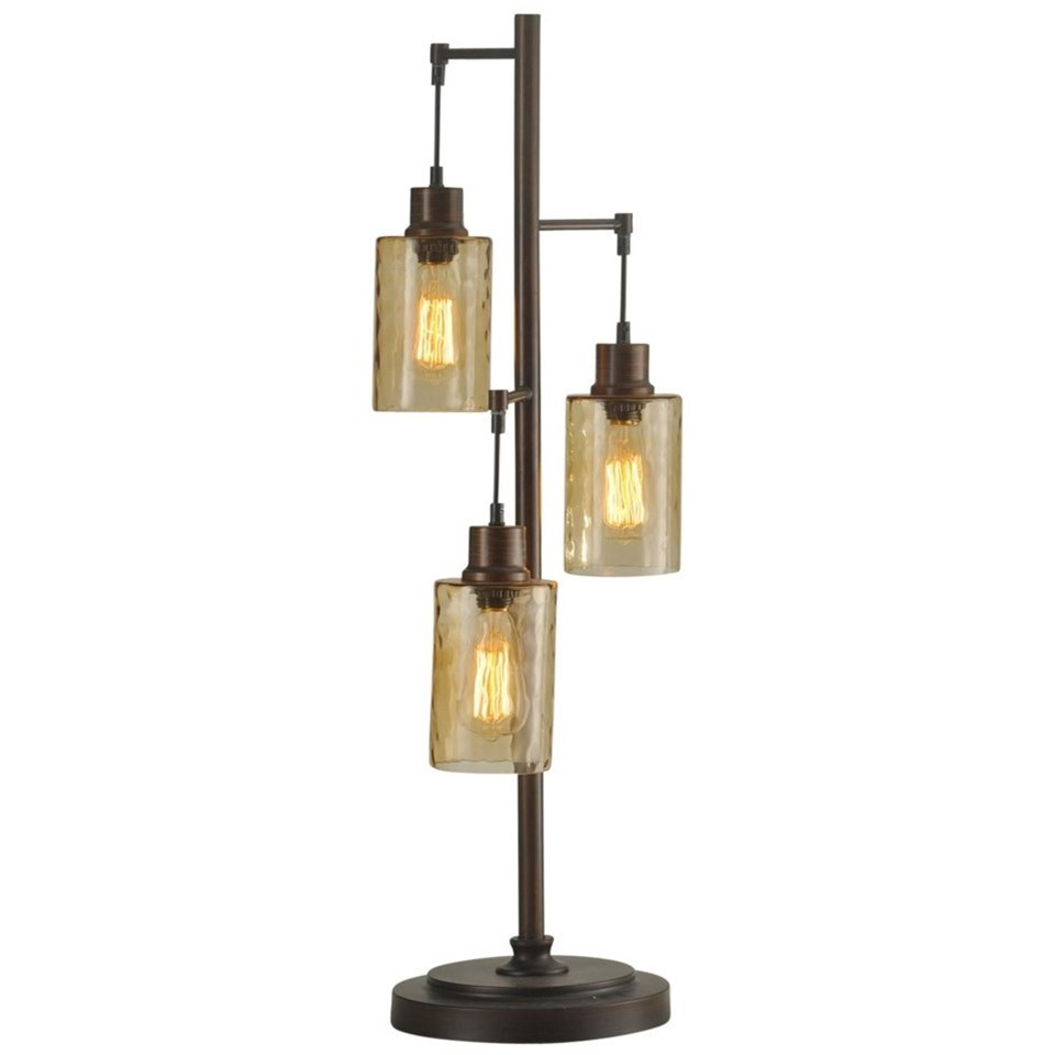 StyleCraft Lamps Table Lamp With Glass Shades And Edison Bulbs