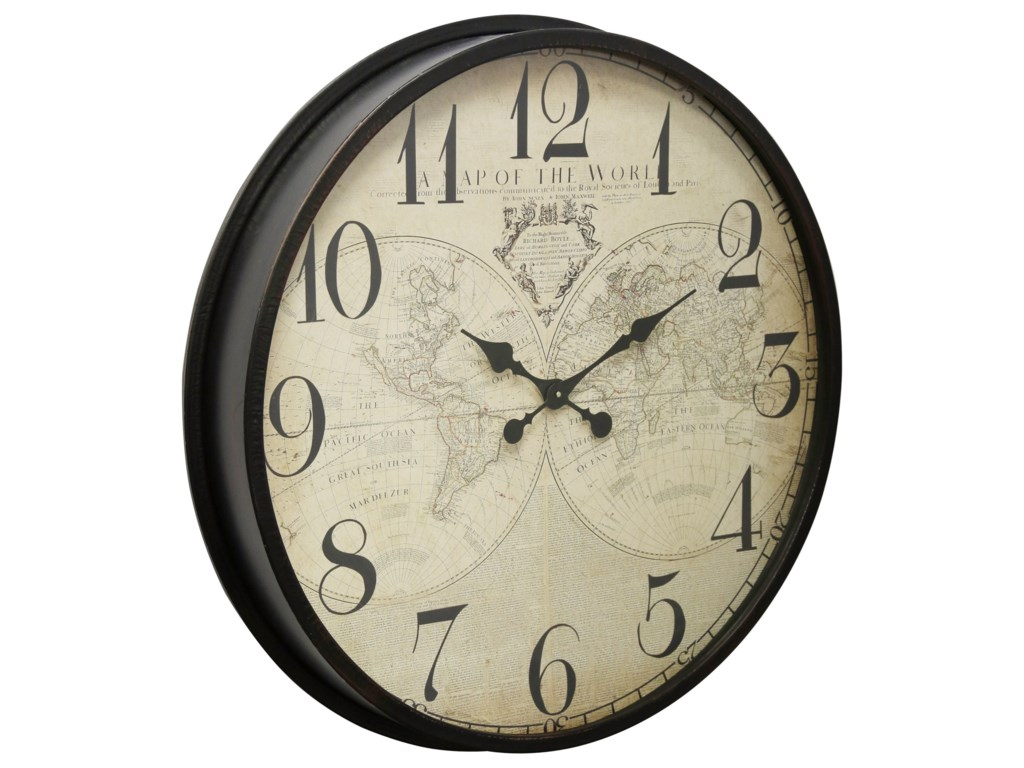 StyleCraft ClocksBlack Wall Clock With Map Face