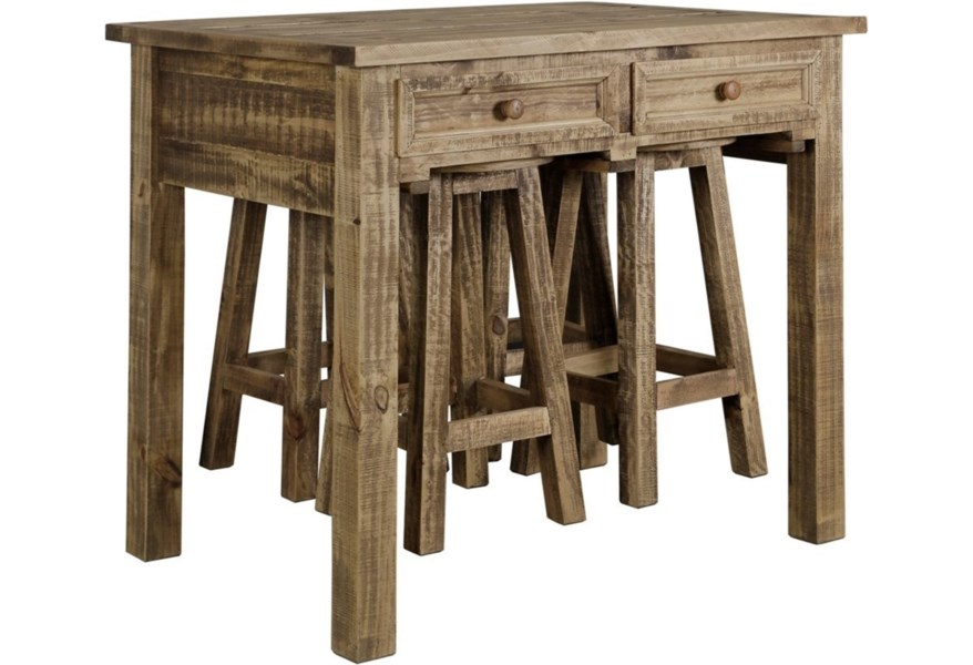 StyleCraft DM8206 Rustic Kitchen Island with 4 Stools ...