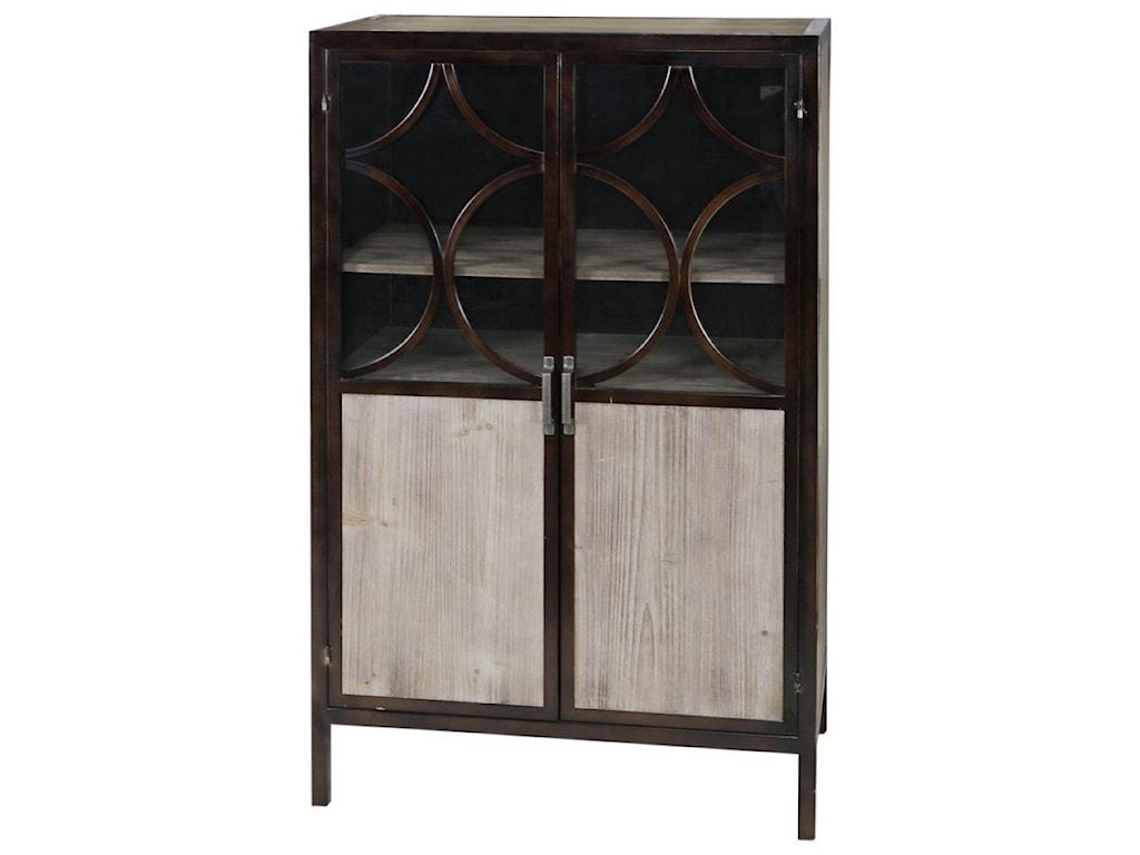 Bradley Metal Cabinet With Wood Veneer And Glass Doors Occasional