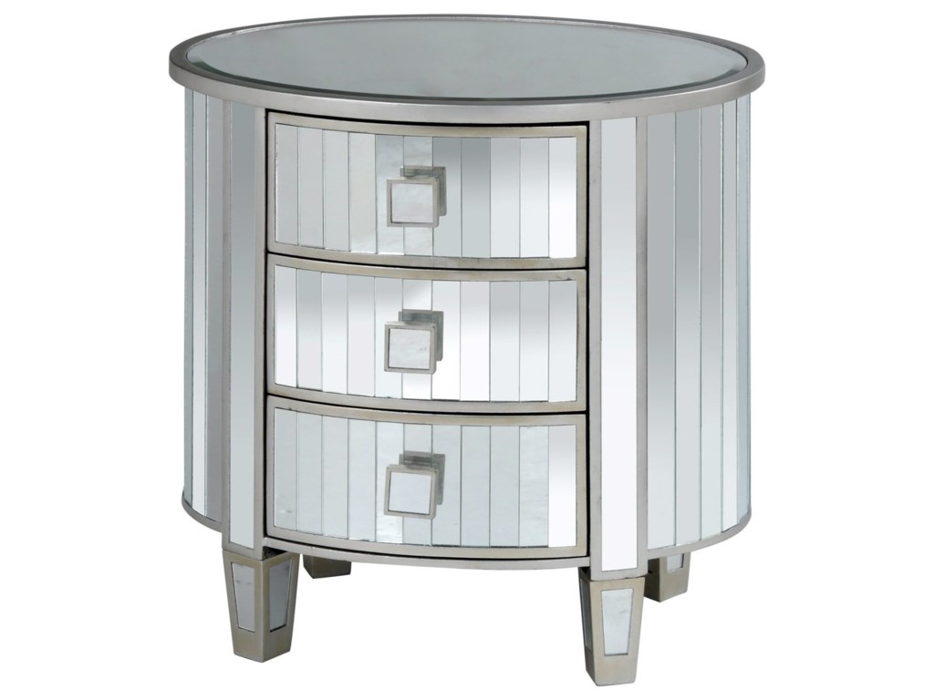 Stylecraft cabinets - Stylecraft Occasional Cabinets 3 Drawer Oval Mirrored Cabinet Hudson S Furniture Accent Chests