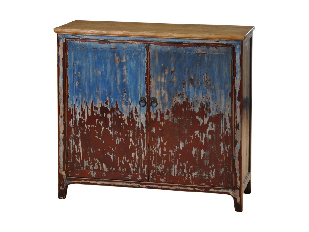 Stylecraft cabinets - Stylecraft Occasional Cabinets Two Door Cabinet With Distressed Blue And Barn Red Finish Hudson S Furniture Accent Chests