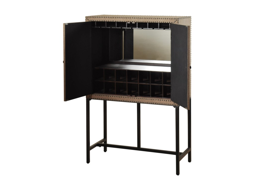 Stylecraft cabinets - Stylecraft Occasional Cabinets Martini Bar With Metal Base And Nail Head Accents