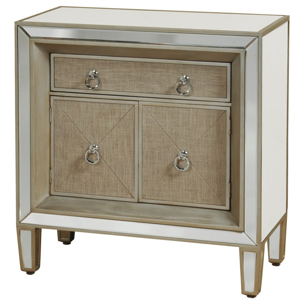 Occasional Cabinets Mirrored Night Stand with Linen Front
