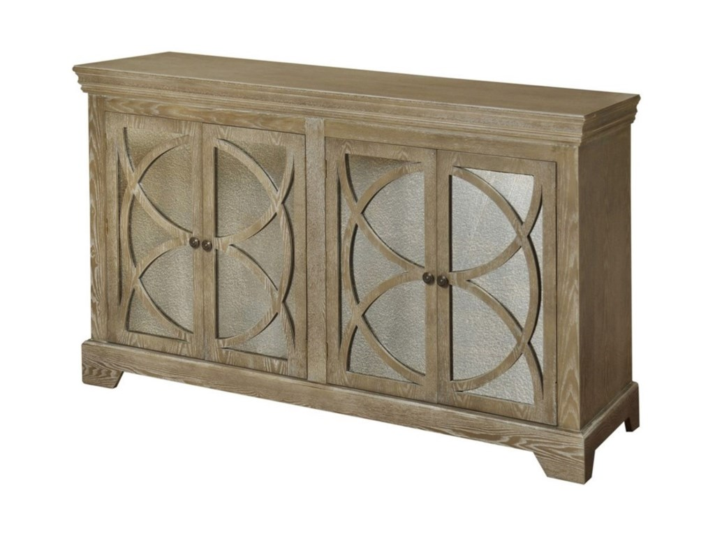 Dark Wood Mirrored Credenza : Circleline four door credenza with mirrored glass inserts