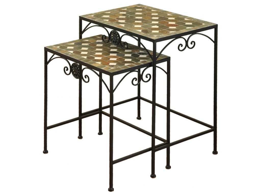 stylecraft occasional tables sf22350 set of two wrought iron nesting