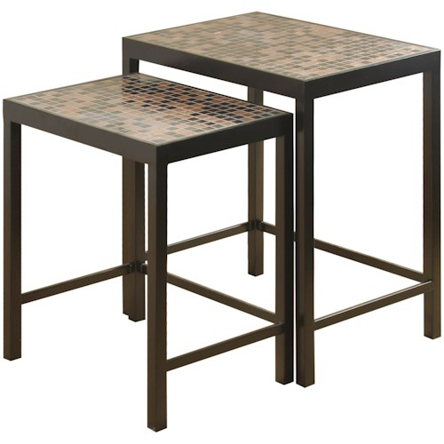 stylecraft occasional tables set of two metal nesting tables with