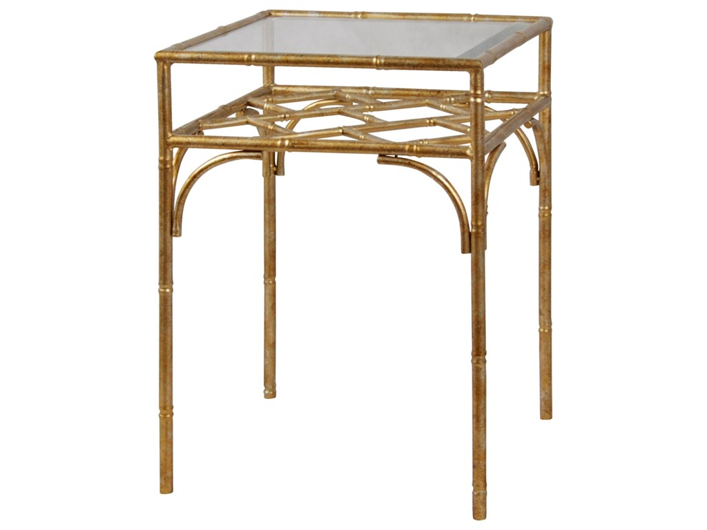 Stylecraft Occasional Tables Brass Metal Accent Table With Tempered