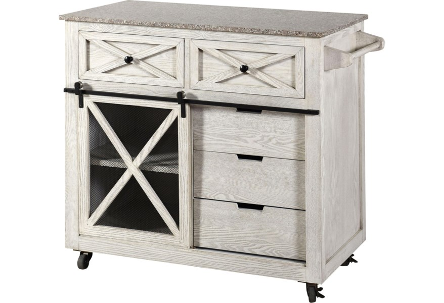 Stylecraft Sf25203 Farmhouse Kitchen Island With Casters And