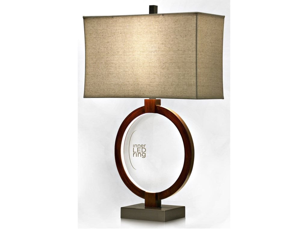 Stylecraft lamps l311589 wood lamp with led inner ring household lamps wood lamp with led inner ring by stylecraft mozeypictures Image collections