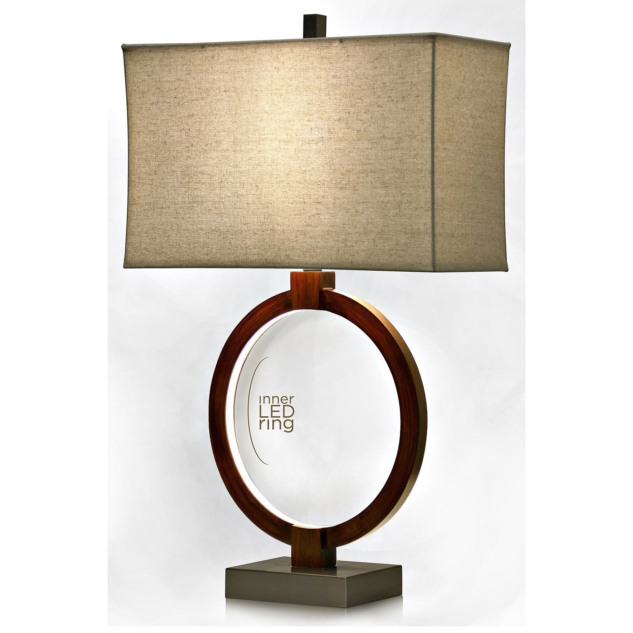 Lamps Wood Lamp With LED Inner Ring By StyleCraft