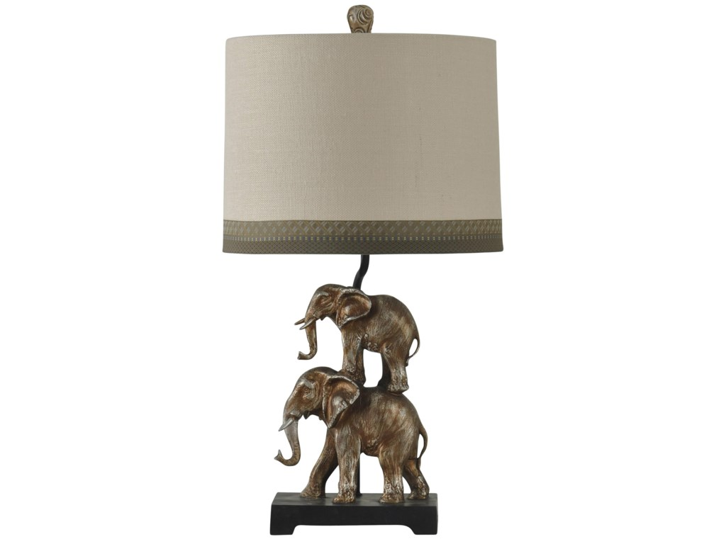 Stacked elephant lamp - Stylecraft Lamps Antique Silver Finish Stacking Elephant Novelty Lamp Designer Shade With Trim