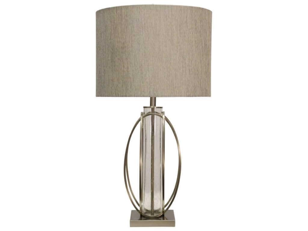 StyleCraft Lamps L311893 Brushed Steel & Seeded Glass Cylinder Table ...