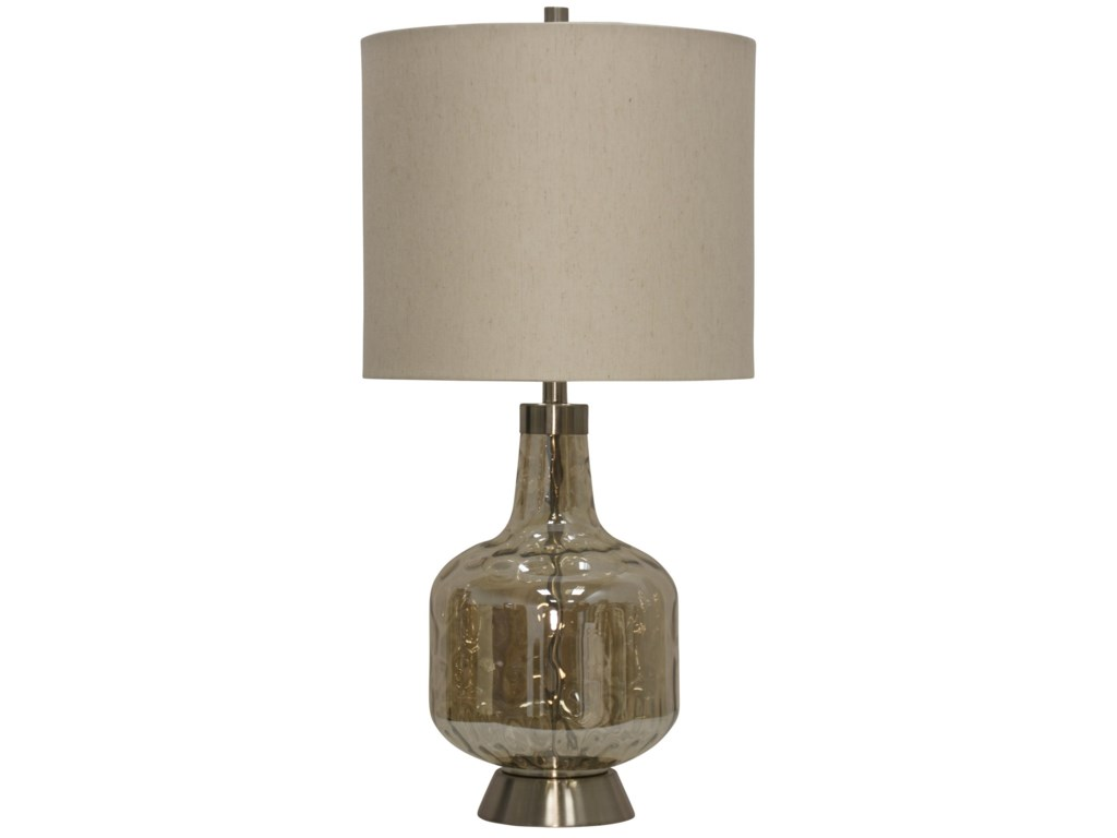 Stylecraft Lamps Glass Steel Base Transitional Table Lamp