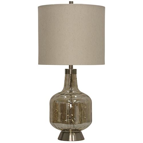 glass & steel base transitional table lamp - lampsstylecraft