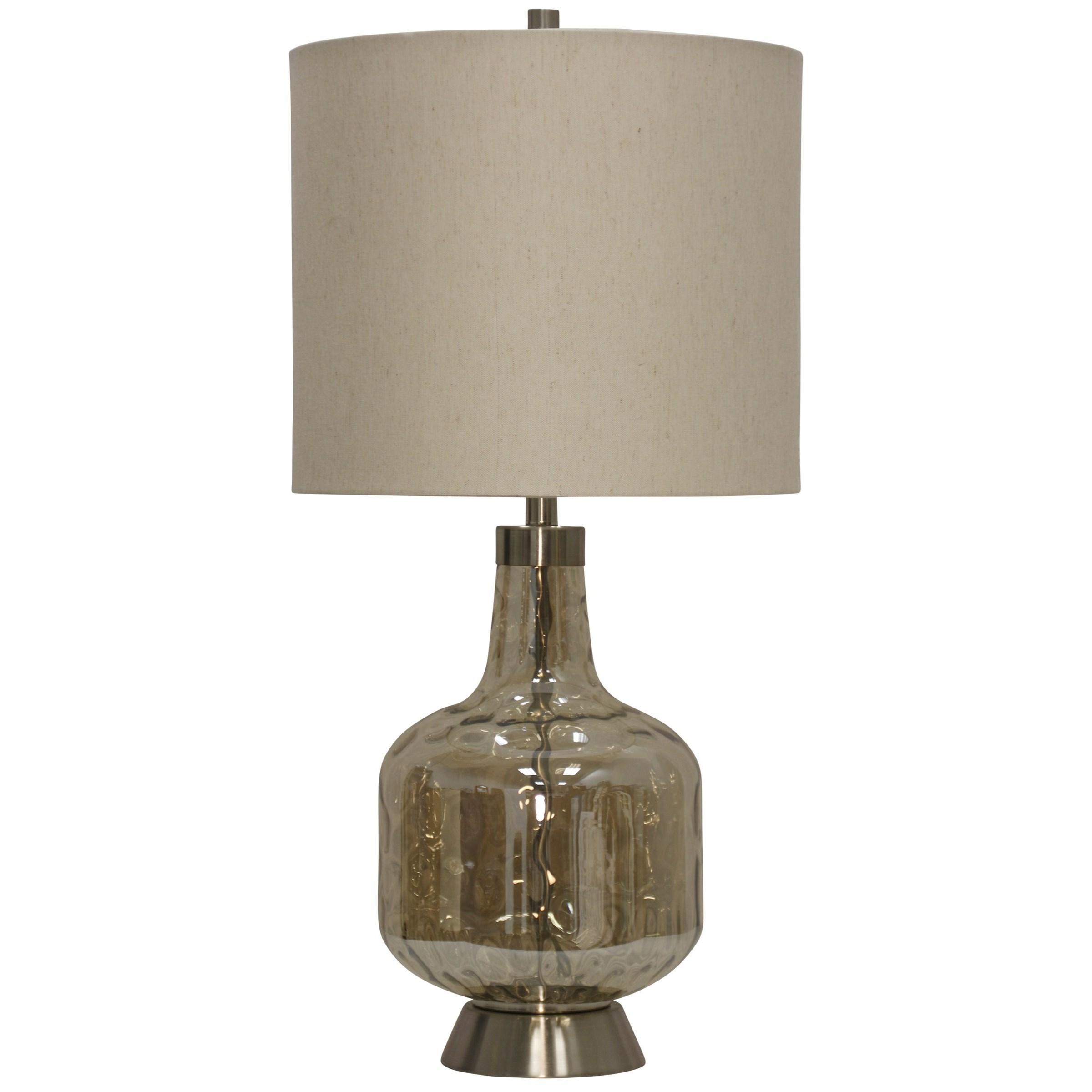 StyleCraft LampsGlass U0026 Steel Base Transitional Table Lamp