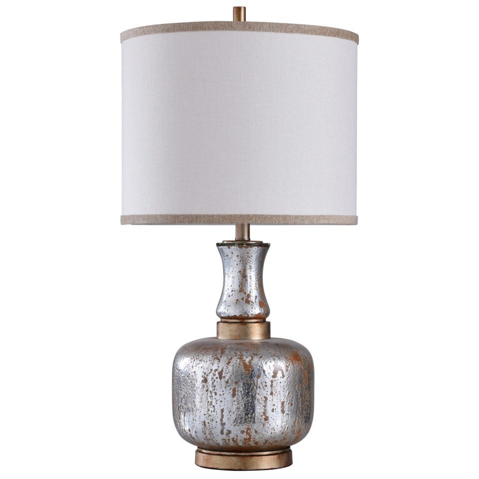 Stylecraft Lamps L315437 Steel And Glass Table Lamp Sam Levitz Furniture Table Lamps