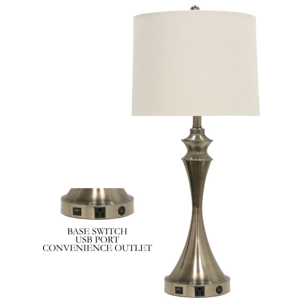 Stylecraft Lamps Table Lamp With Brushed Steel Base And Usb Port