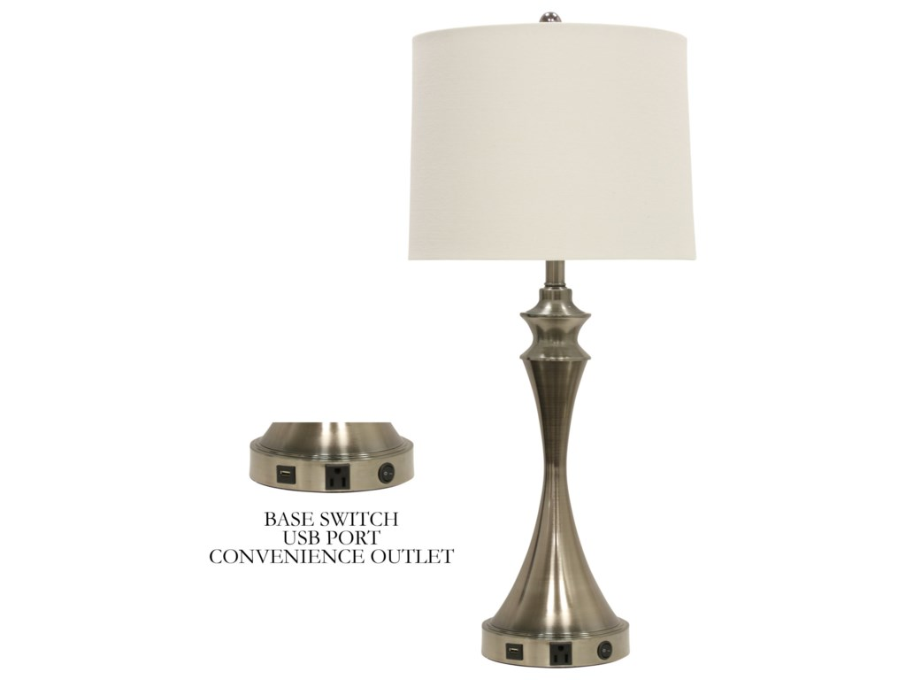 Stylecraft lamps l36278 table lamp with brushed steel base and usb stylecraft lampstable lamp w brushed steel base usb mozeypictures Image collections