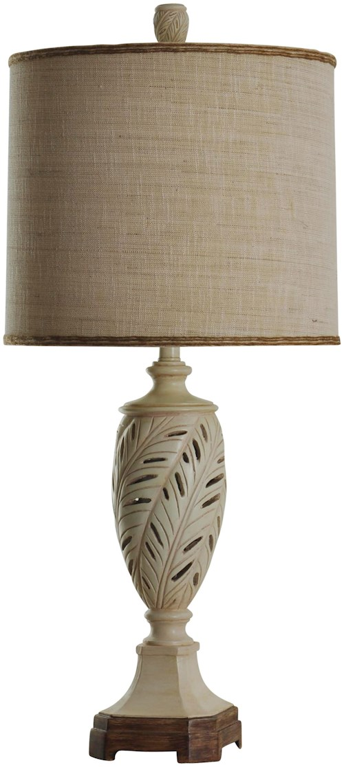 StyleCraft Lamps Transitional Table Lamp with Leaf Motif