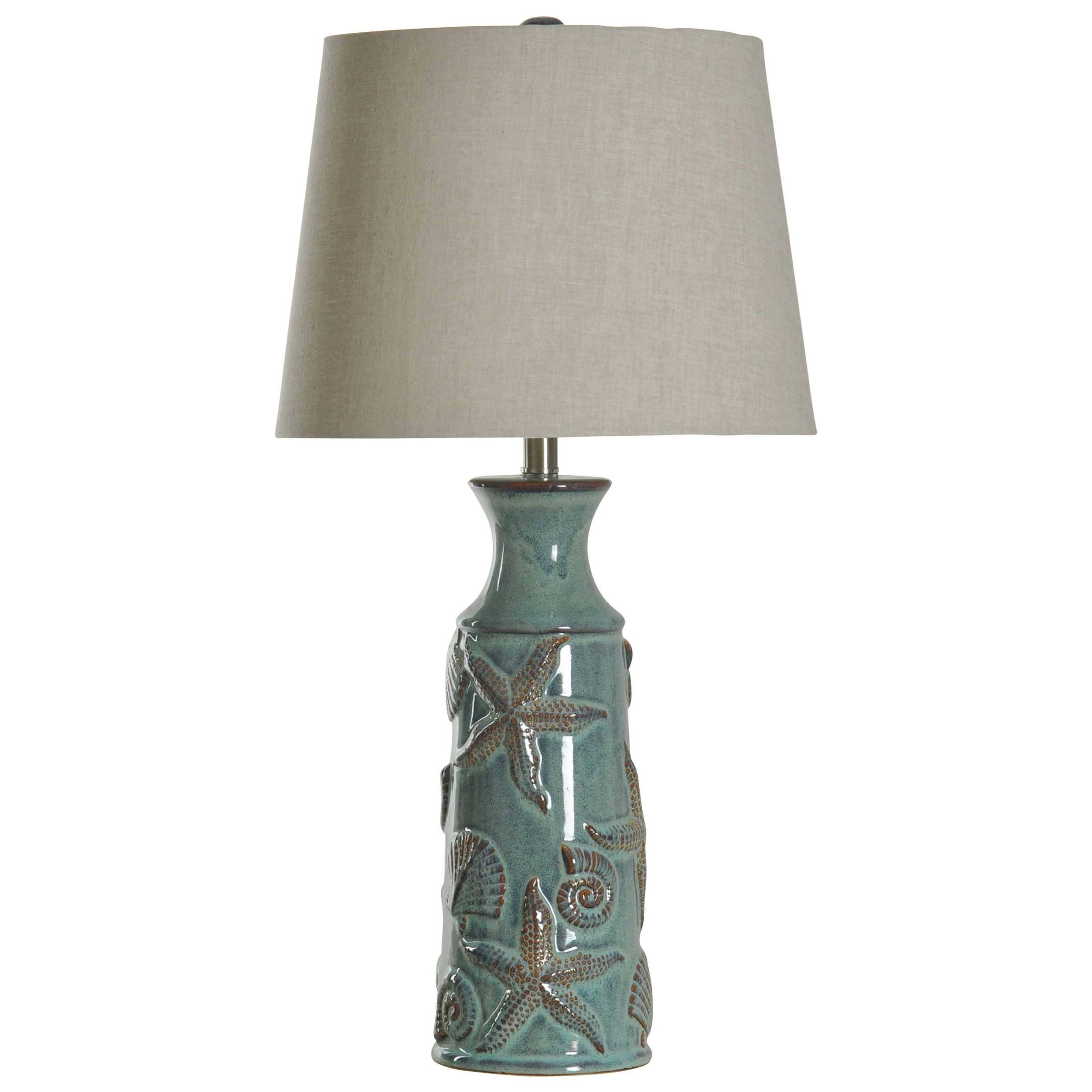 StyleCraft Lamps Nautical Ceramic Table Lamp In Blue Bay Finish Natural  Linen Shade   Hudsonu0027s Furniture   Table Lamps