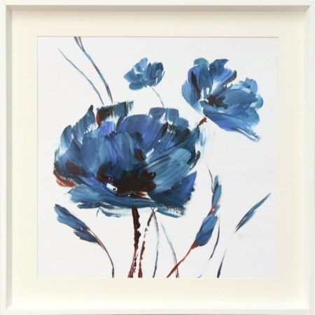 Blue Floral On White Print
