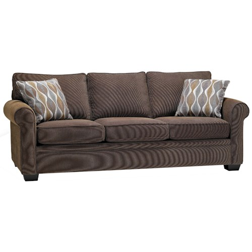 Stylus 4320 Casual Styled Stationary Sofa with Rounded Arms and Wooden Feet