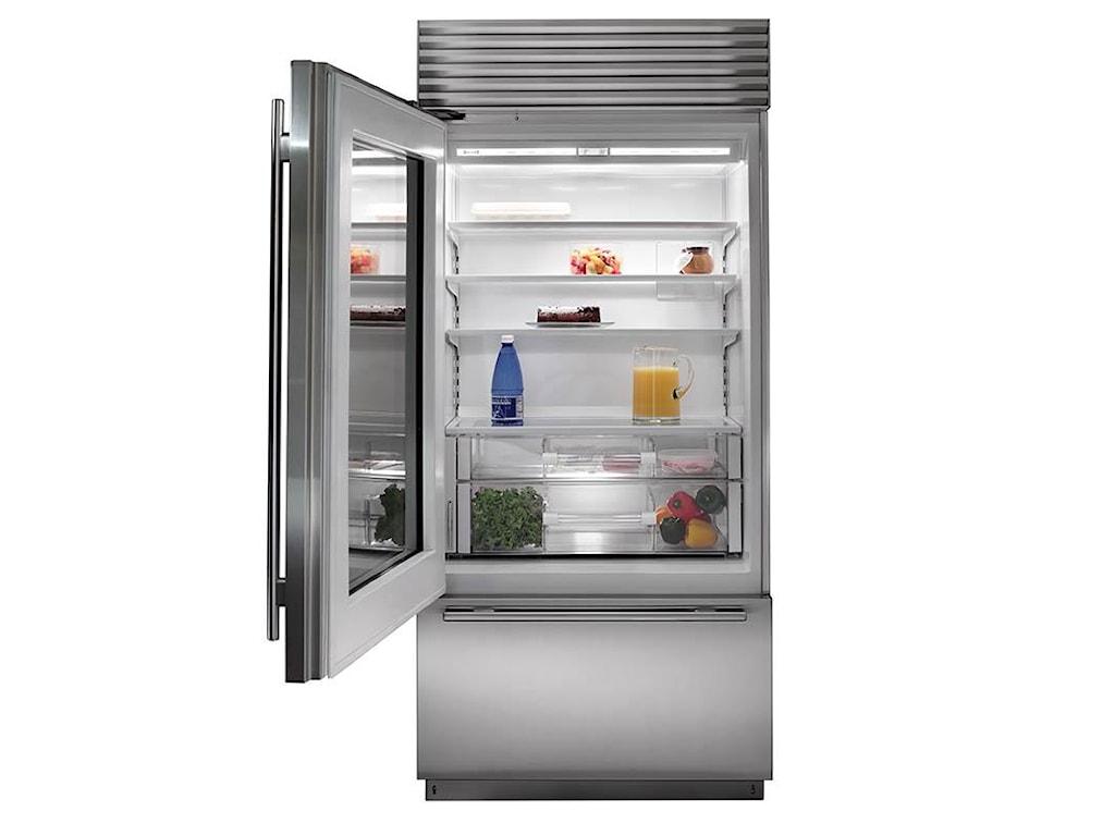 Sub Zero Bi 36ug214 Cu Ft Built In Refrigerator With Glass Door