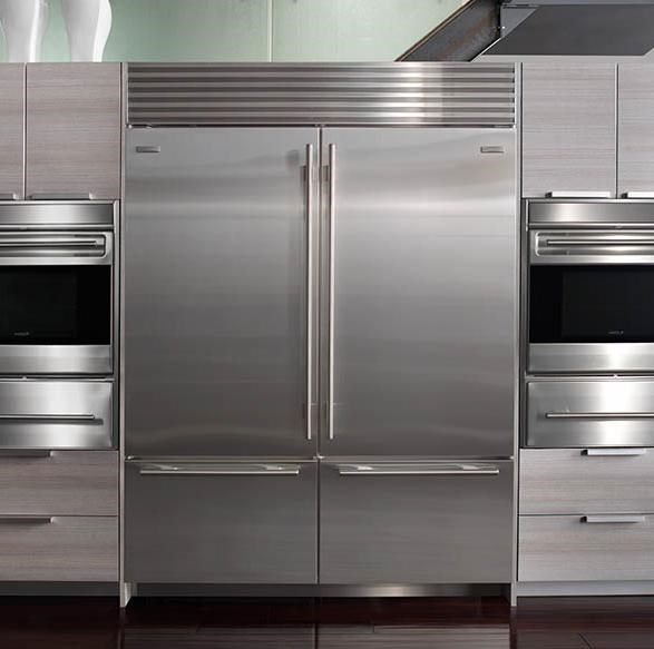Classic Stainless Steel Unit with Tubular Handles with Freezer