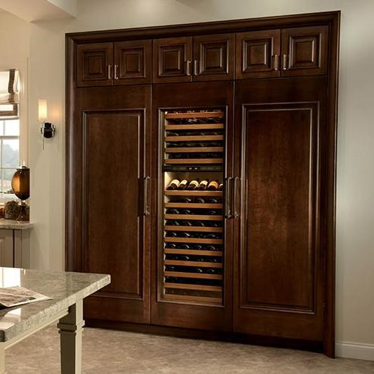 Shown in Custom Medallion Wood Panels with IC-27R All Refrigerator and IC-27FI All Freezer Models