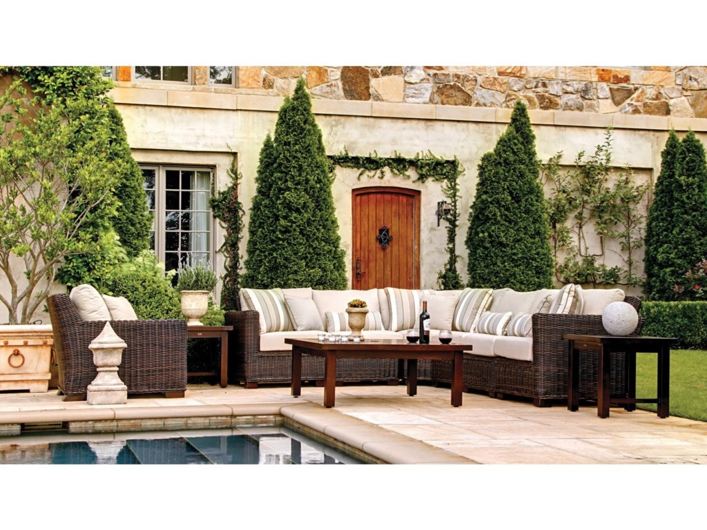 Summer Clics Rustic Outdoor Sectional And Chair Set