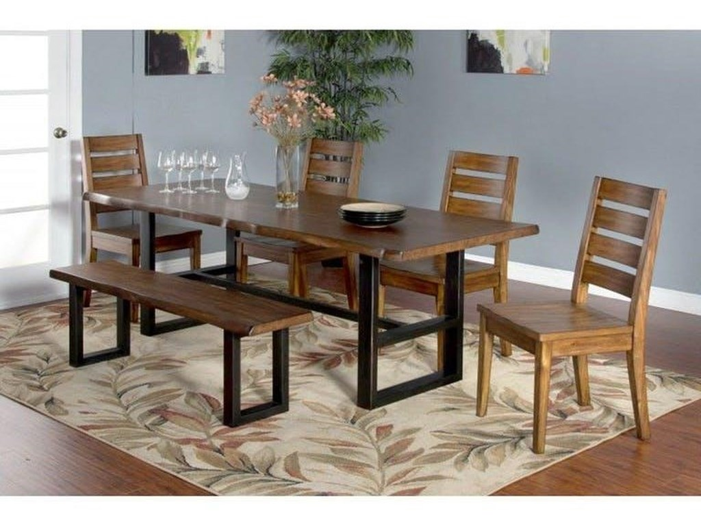 Sunny Designs 1031Solid Mahogany Live Edge Table & 6 Chairs