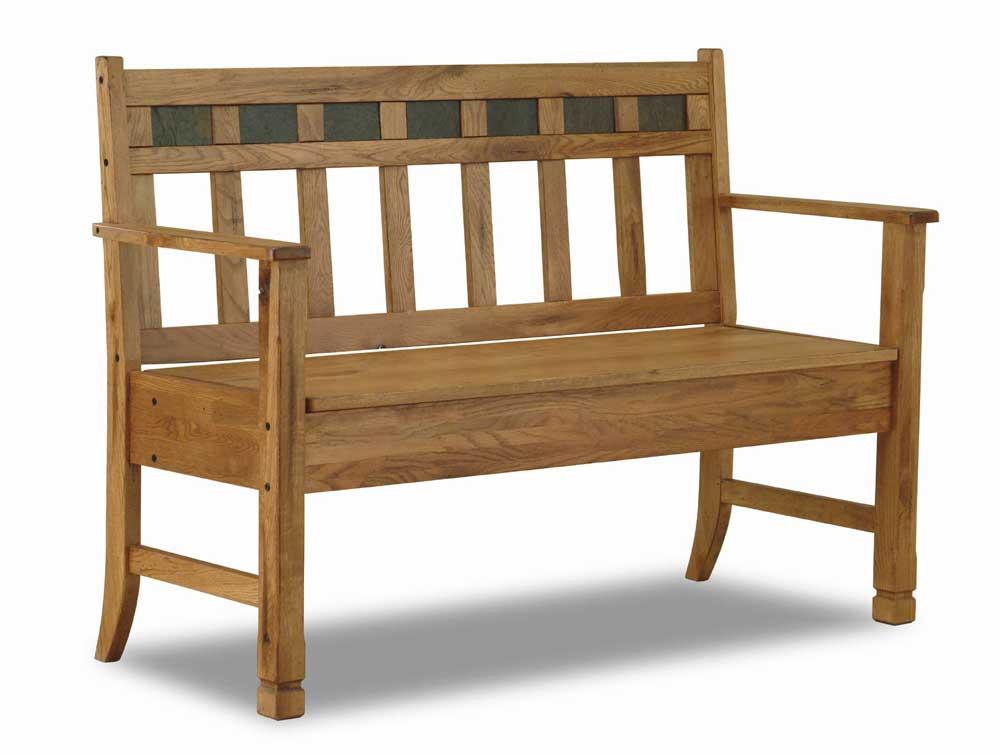 Sunny Designs Sedona Rustic Oak Bench With Storage   Becker Furniture World    Bench