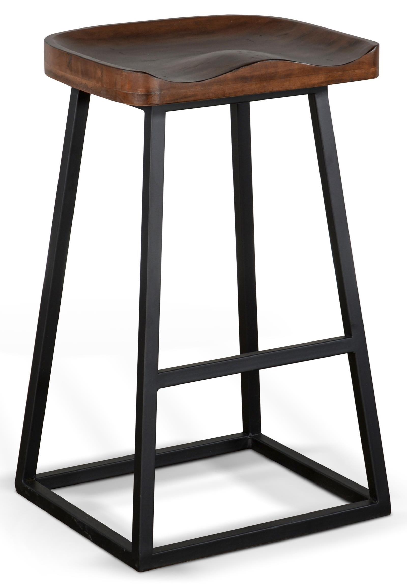 Bar Stool with Wood Saddle Seat and Metal Base