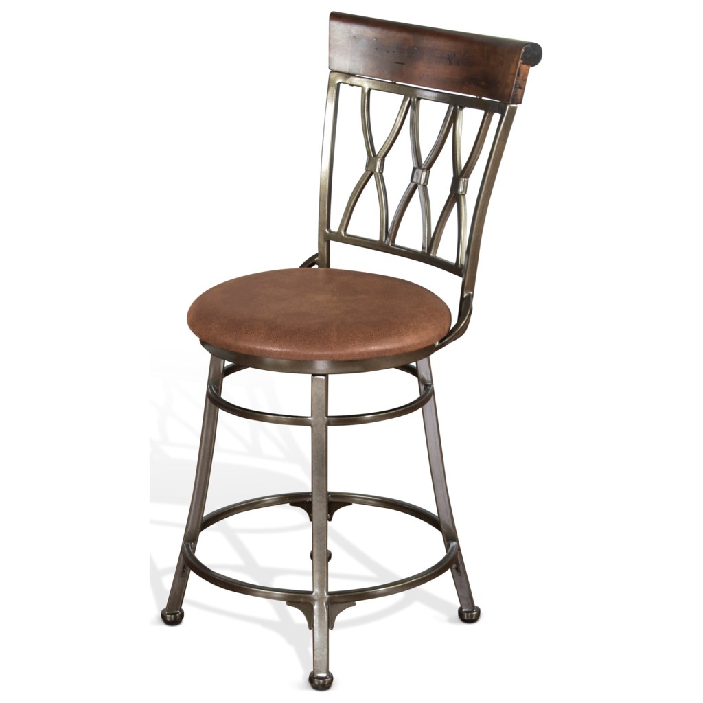 Sunny Designs 1802 24 Contemporary Metal Swivel Barstool With