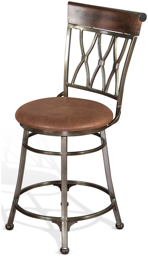 Sunny Designs 1802 Contemporary Metal Swivel Barstool with Cushion Seat