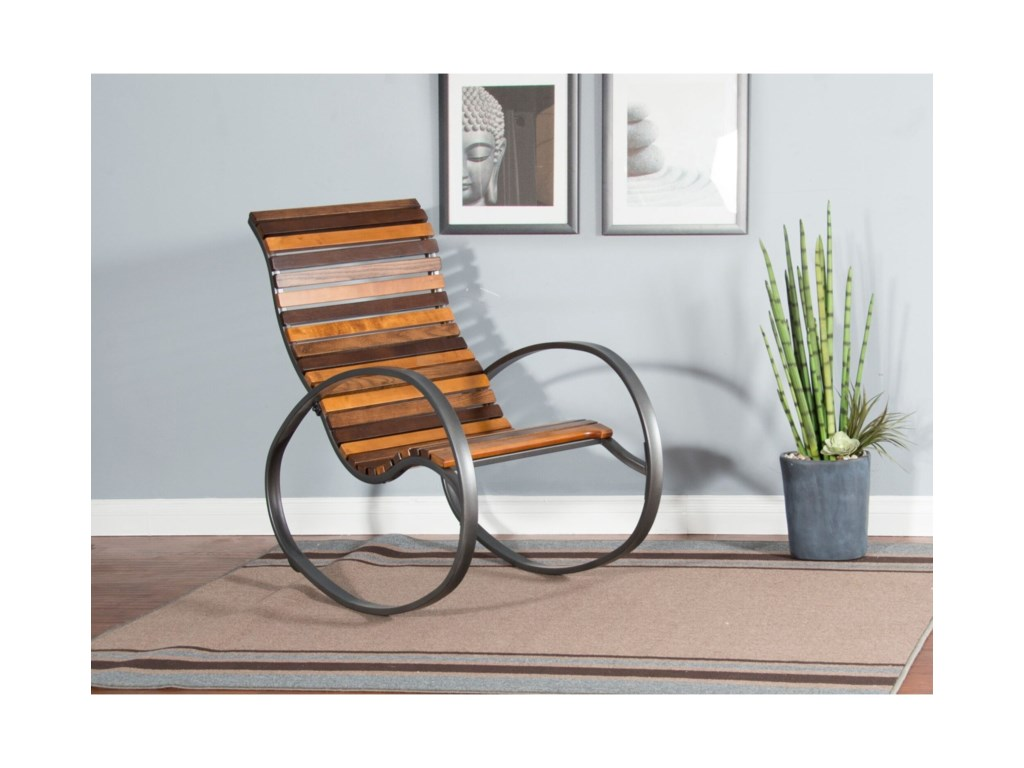 Sunny Designs 2015Metal Rocker with Wood Seat and Back