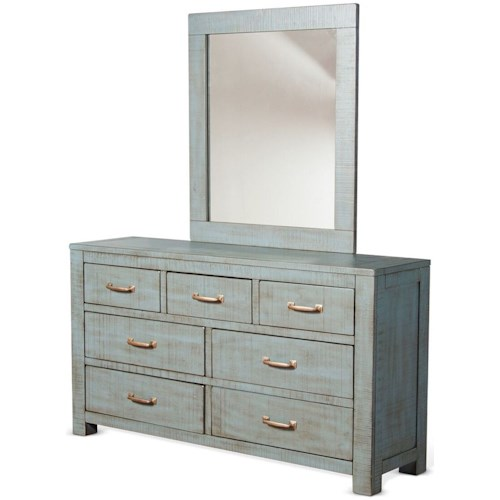 Sunny Designs 2319 Rustic 7 Drawer Dresser and Mirror Set with Weathered Finish