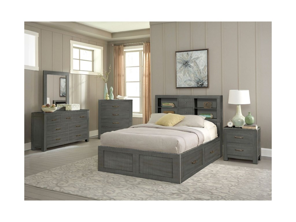 Sunny Designs 2319Full Captain's Bookcase Storage Bed