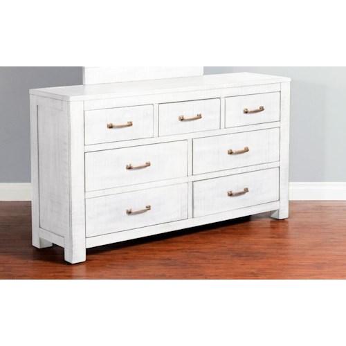 Sunny Designs 2319 Rustic 7 Drawer Dresser with Weathered Finish