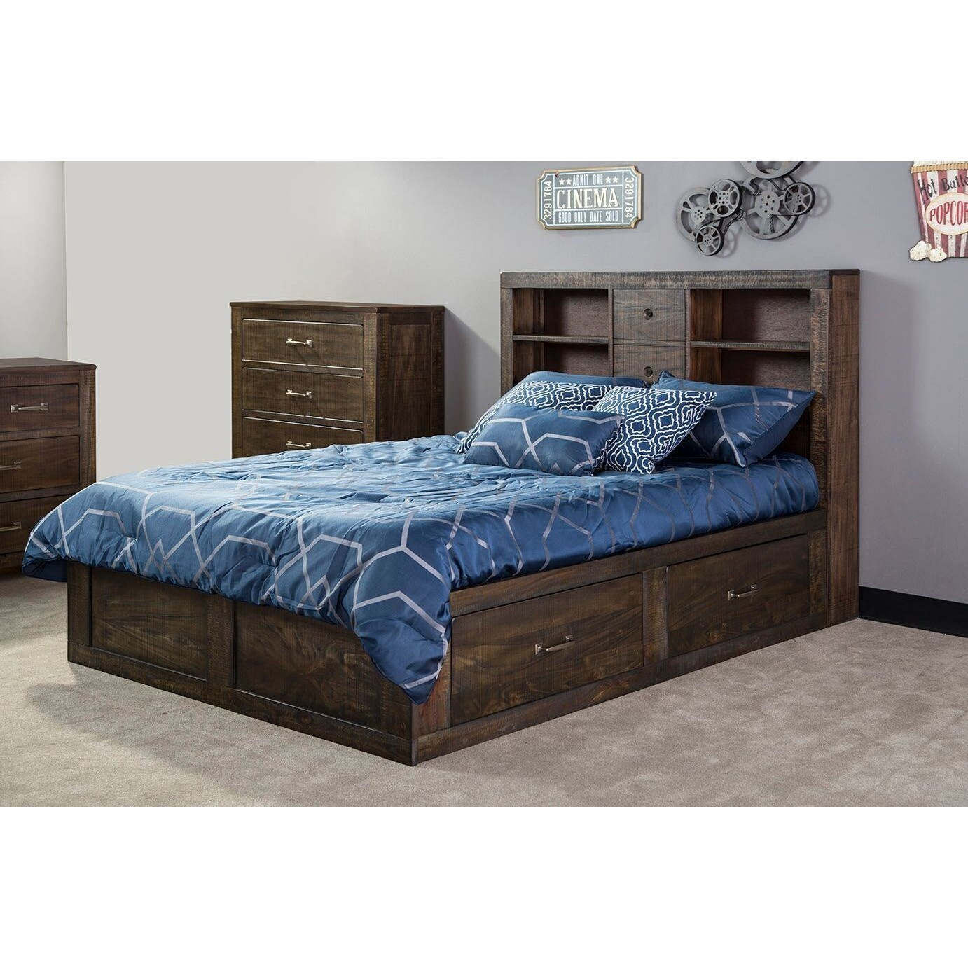 Rustic Queen Captain's Bookcase Storage Bed with Cord Management