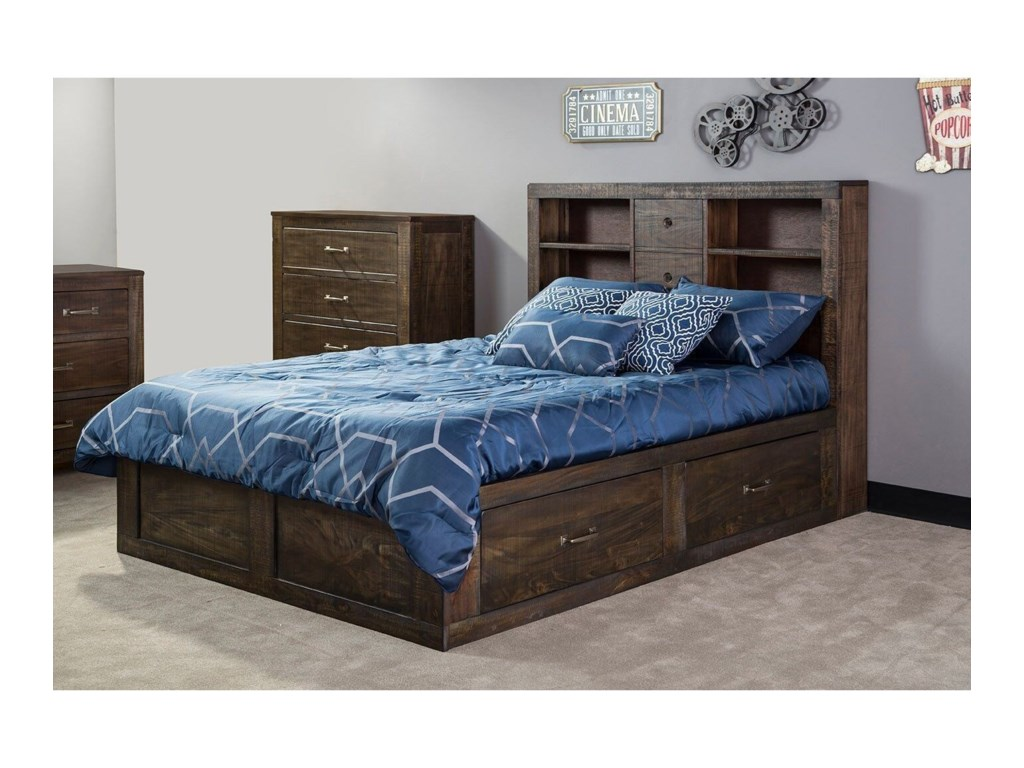 Sunny Designs 2319Twin Captain's Bookcase Storage Bed