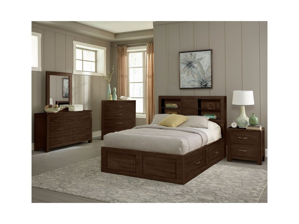 VFM Signature 2319Full Captain's Bookcase Storage Bed