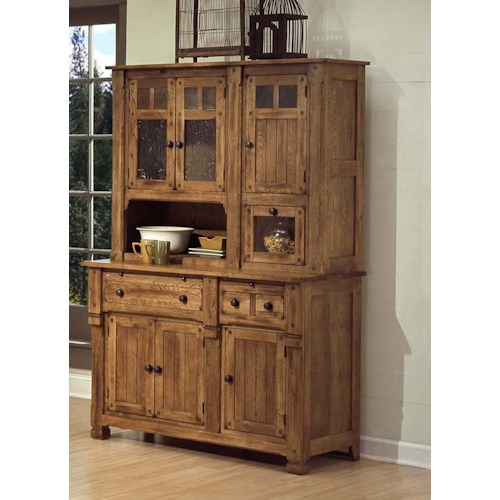 Sunny designs sedona rustic oak hutch and buffet for Dining room cupboard designs