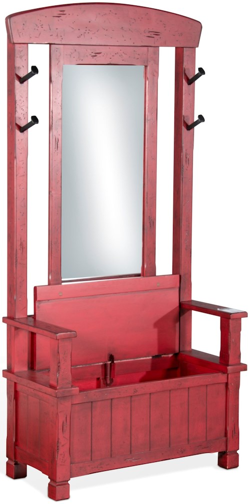 Sunny Designs 2537 Hall Tree with Storage Bench and Mirror