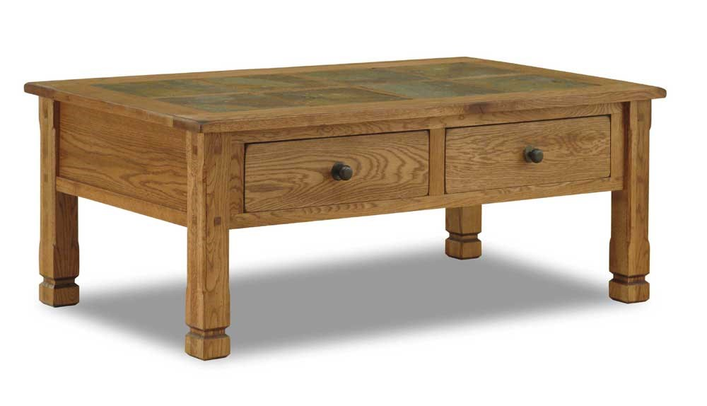 Sunny Designs Sedona Rustic Oak Coffee Table With Slate Top   Becker  Furniture World   Cocktail/Coffee Tables