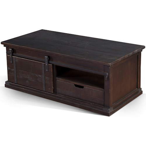 Sunny Designs 3270 Rustic Barn Door Coffee Table with Casters